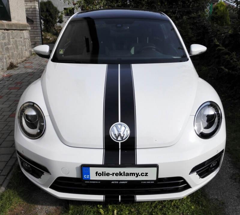 VW Beatle-sportovní pruhy, grafika, výroba a aplikace tónování autoskel